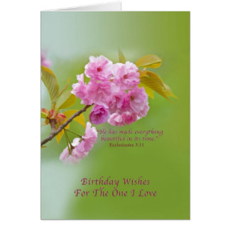 Birthday, Love and Romance, Cherry Blossoms Greeting Card