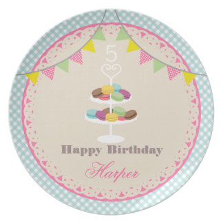 Birthday Macarons Plate Blue Gingham