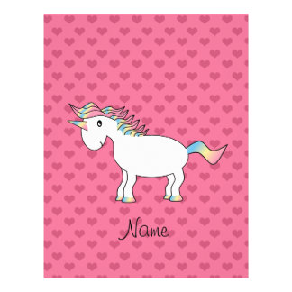 Birthday name unicorn pink hearts full color flyer