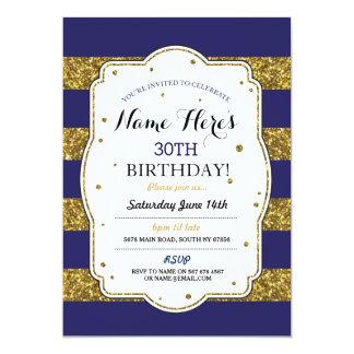 Birthday Navy Blue Gold Glitter Stripe Invite