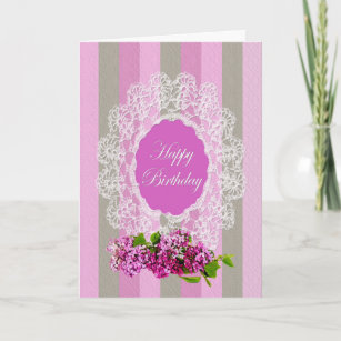Old fashioned birthday greetings gifts on zazzle nz birthday old fashion greeting lilacs and lace card m4hsunfo
