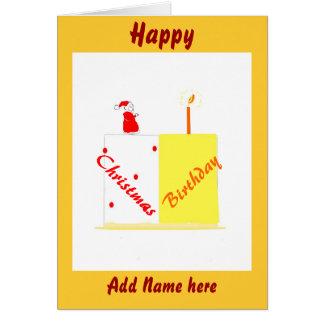 Birthday on Christmas customisable card