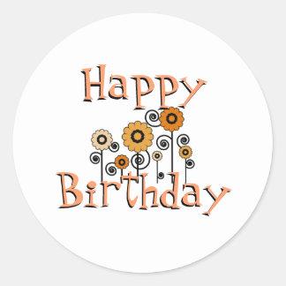 Birthday, orange & black flowers, white background classic round sticker