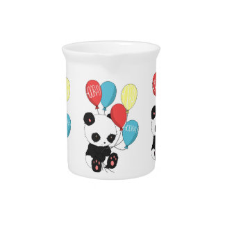 Birthday Panda with balloons Pitcher
