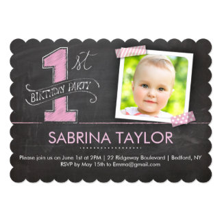 Birthday Party | 1st Chalkboard Tape Pink Scallops 13 Cm X 18 Cm Invitation Card