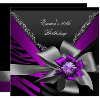 Birthday Party 30th Zebra Purple Black Magenta Card