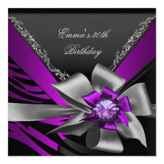 Birthday Party 30th Zebra Purple Black Magenta Card