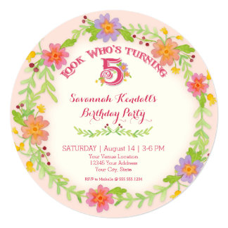 Birthday Party 5 Years Old Girl, Watercolor Floral 13 Cm X 13 Cm Square Invitation Card