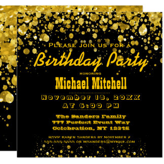 Birthday Party | Black and Gold Confetti