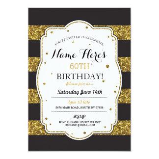 Birthday Party Black Gold Glitter Stripe Invite