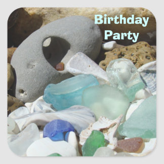 Birthday Party Card Invitation seals Seaglass Rock
