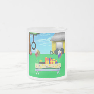 Birthday Party Cartoon Illustration Frosted Glass Coffee Mug