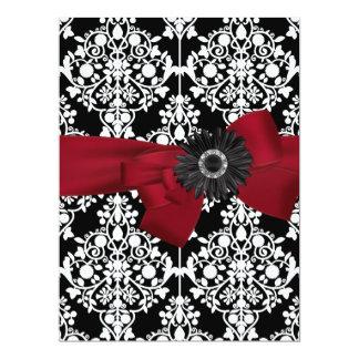 Birthday Party Damask Black White Red Flower 17 Cm X 22 Cm Invitation Card