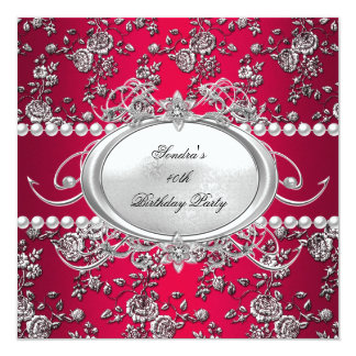 Birthday Party Damask Red Silver White Pearl Card
