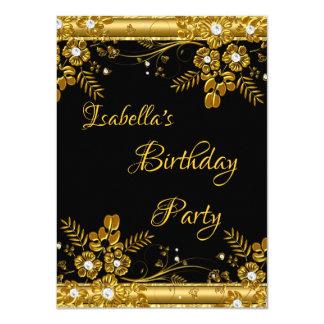 Birthday Party Gold Black Diamond Floral Swirl Card