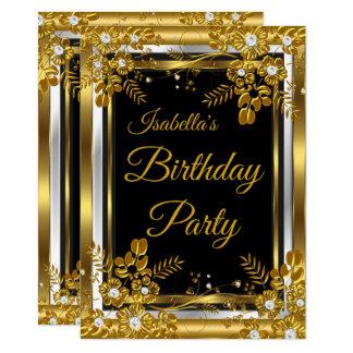 Birthday Party Gold Black White Diamond Floral Card