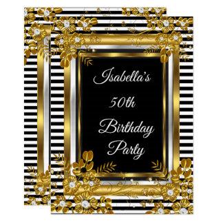 Birthday Party Gold Black White Stripe Floral Card