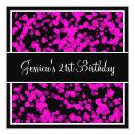 Birthday Party Hot Pink Bubbles Black & White Custom Invite