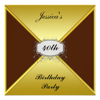 Birthday Party Invitation Gold envelope Announcement