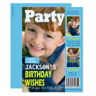 Birthday Party Invitation Magazine Cover 3 Photos