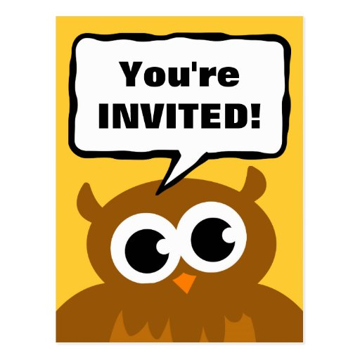 Birthday party invitation postcard with cute owl