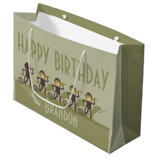 Birthday Party, monkeys, safari Large Gift Bag