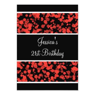 Birthday Party Orange Bubbles Black & White 5x7 Paper Invitation Card