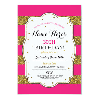 Birthday Party Pink Gold Glitter Stripe Invite