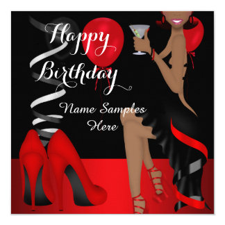 Birthday Party Red Black Shoe High Heels Ethnic Card