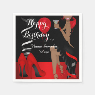 Birthday Party Red Black Shoe High Heels Ethnic Paper Serviettes