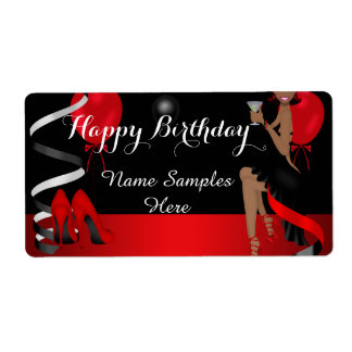 Birthday Party Red Black Shoe High Heels Ethnic Shipping Label