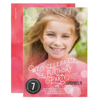 Birthday Party Watercolor   Invitations Girl  