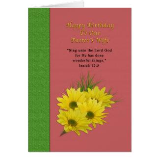 Birthday, Pastor's Wife, Yellow Daisies, Religious Card
