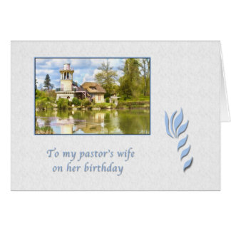 Birthday, Pastor's Wife, Cottage by Lake Card