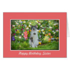 Birthday, Sister,Cat Among The Flowers Card