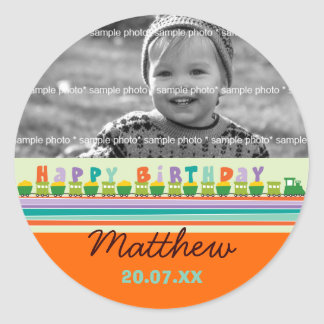 Birthday Train Gift Favors Custom Label Sticker