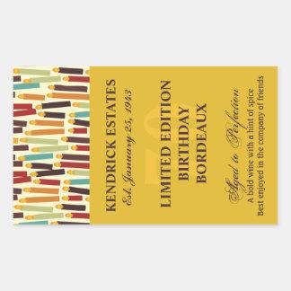 Birthday Wine Label - Gold Rectangular Sticker