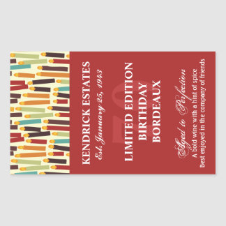 Birthday Wine Label - Red Rectangle Sticker