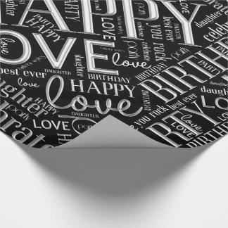 Birthday Word Cloud Daughter Silver ID272 Wrapping Paper