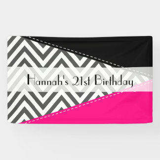 Birthday - Zigzag Pattern, Chevron - Grey Pink
