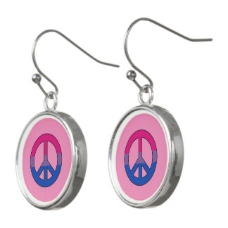Bisexuality peace symbol earrings