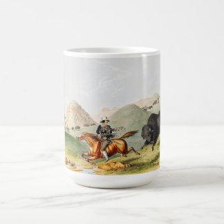 Bison hunting scene 1845 classic white coffee mug