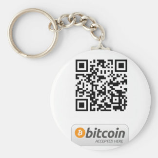 Bitcoin Accepted Here Basic Round Button Key Ring