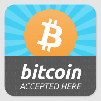 """""""Bitcoin accepted here"""" sticker"""