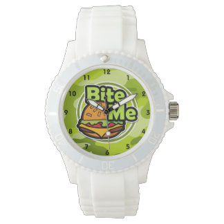 Bite Me; bright green camo, camouflage Watch