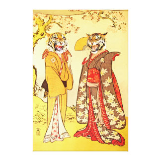 Bizarre and Beautiful Tiger Man and Wife Canvas Print