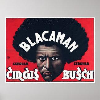 Blacaman Circus Busch Vintage Poster