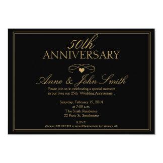 Black 50th Wedding Anniversary Invitation