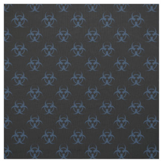Black and Blue Biohazard Symbol Pattern Fabric