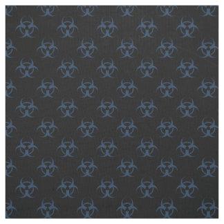 Black and Blue Biohazard Symbol Pattern Fabric